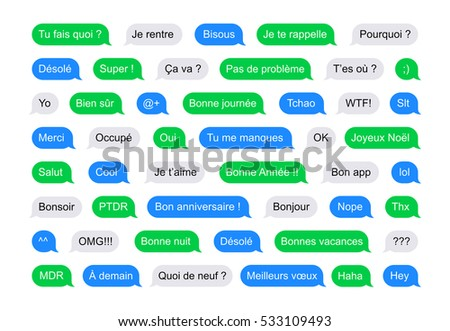 SMS bubbles short messages in French