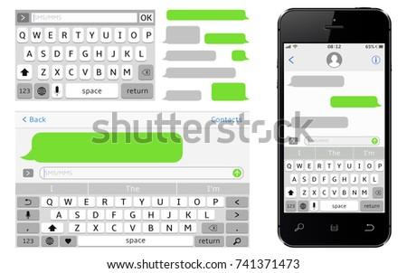 Smartphone with message bubbles download free vector art stock sms chat composer smartphone chatting sms template bubbles pronofoot35fo Images