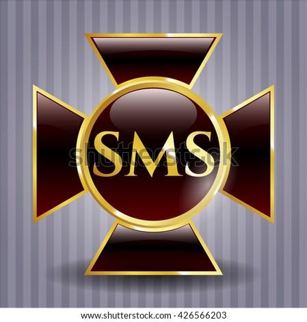 SMS golden emblem or badge