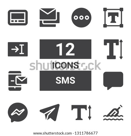 sms icon set. Collection of 12 filled sms icons included Message, Text, Telegram, Messenger, Messages, Pager