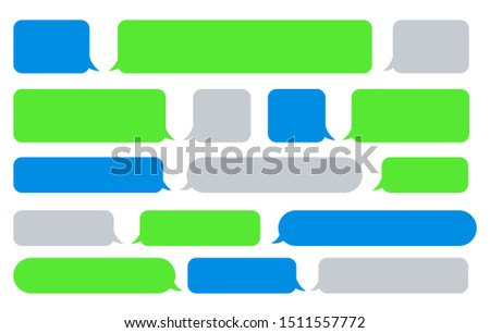 Sms message bubbles. Vector texting messages, bubble images for send and receive text, phone messaging boxes for chat box application