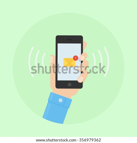 SMS message design image. SMS alert to a mobile phone vector flat illustration. Sending and receiving SMS messages.