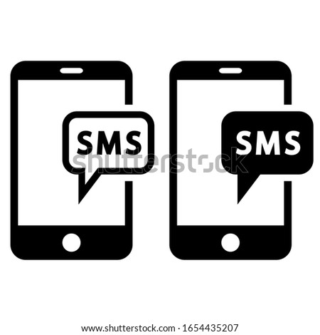 SMS vector icon. message illustration sign. mobile phone symbol. Foto stock ©