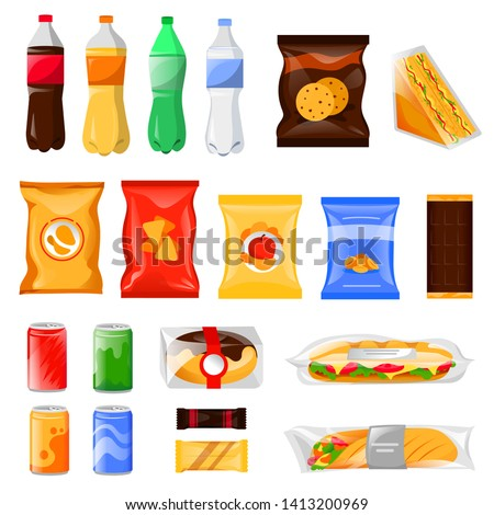 Snack and fast food products set. Cartoon meal and drinks vector illustration, isolated on white background. Beverage bottles, sandwich package and cookie packets, icons and design elements.