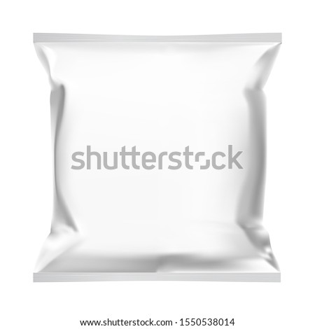 Snack bag. Food pouch template mock up design. Foil sachet blank design. Potato chips snack packet mockup blank for advertising. Polythene packaging for coffee, chocolate, candy
