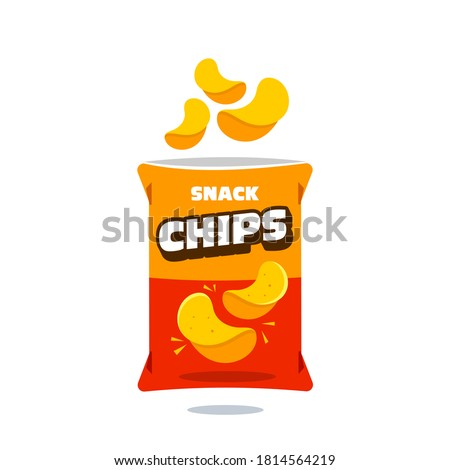 snack chips bag plastic packaging design illustration icon for food and beverage business, potato snack branding element logo vector.