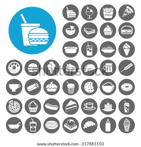 Snack icons set. Illustration EPS10