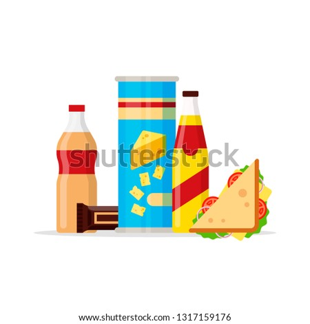 Snack product set, fast food snacks, drinks, chips, juice, sandwich, chocolate isolated on white background. Flat illustration in vector
