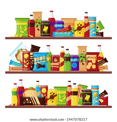 Snack product set on the shelves, colorful fast food snacks drinks nuts chips cracker juice sandwich chocolate isolated on white backgroun