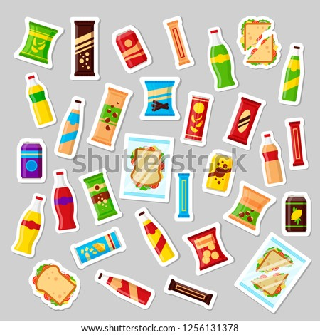 Snack product set, patch badges fast food snacks drinks nuts chips cracker juice sandwich. Flat illustration in vector