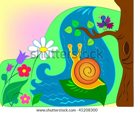 Snail against falls and a glade of colors