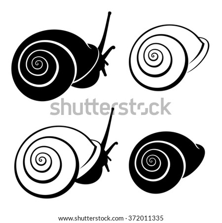 snail and shall icons in black