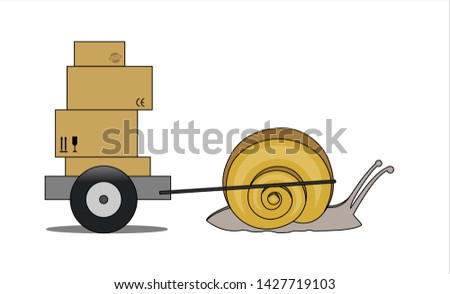 Snail Carries A Cart With Boxes, Side view. Slow Delivery. Signs on Cardboard Boxes. Symbol of Slowness. Modern flat Vector illustration on white background.