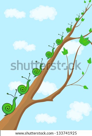 snail crawling up the branch.spring awakening