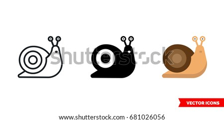 snail icon of 3 types  color