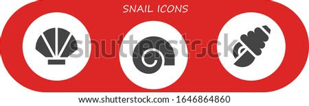 snail icon set 3 filled snail