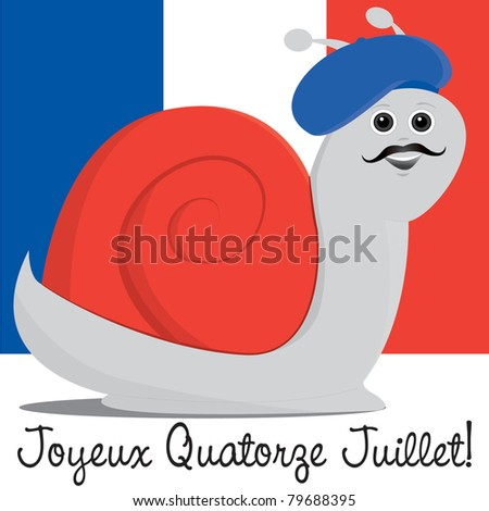 Snail in a beret Bastille Day card in vector format.