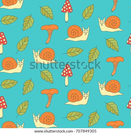 snail leafs and mushrooms