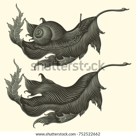 Snail on a dried leaf of a tree. Design set. Hand drawn engraving. Vector vintage illustration. Isolated on light background. 8 EPS