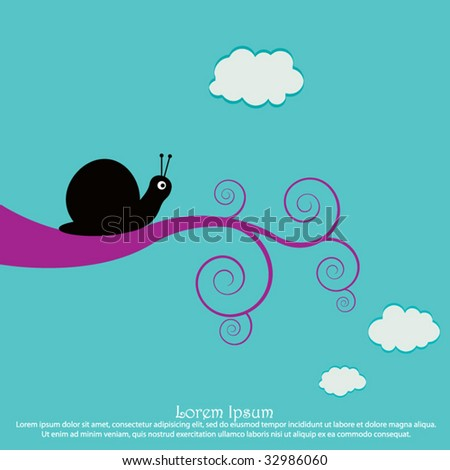 Snail on a swirly branch - stock vector