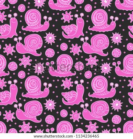 Snails. Doolde print. Seamless vector pattern.