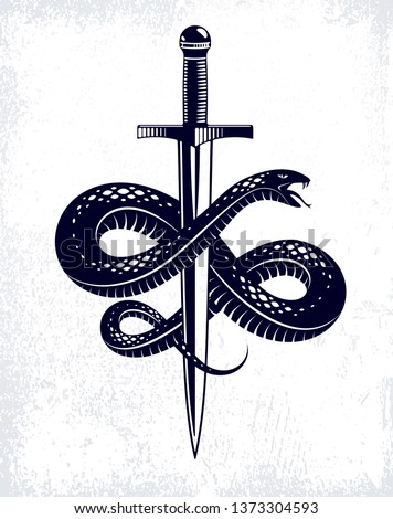 Snake and Dagger, Serpent wraps around a sword vector vintage tattoo, Roman god Mercury, luck and trickery, allegorical logo or emblem of ancient symbol. #1373304593
