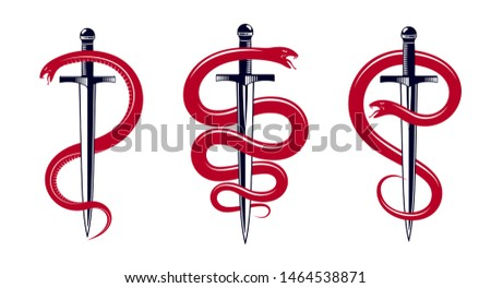 Snake and Dagger, Serpent wraps around a sword vector vintage tattoo, Roman god Mercury, luck and trickery, allegorical logo or emblem of ancient symbol.