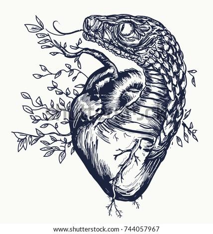 Snake and heart tattoo. Symbol of love, envy, evil t-shirt design