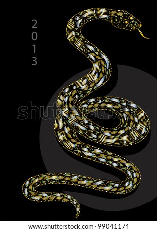 snake celebrating christmas vector illustration