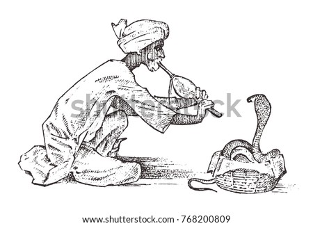 snake charmer. man playing the flute for hypnotize. cobra in India. sleight of hand. pungi for vipers. hand drawn and engraved in vintage style for packing and labeling or tattoo.