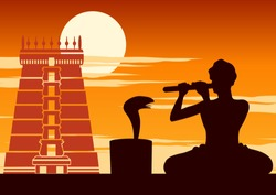 snake charmer play flute to snake,show of Indian,sunset time,vector illustration