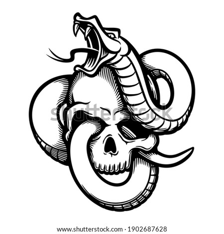 snake entwined with human skull