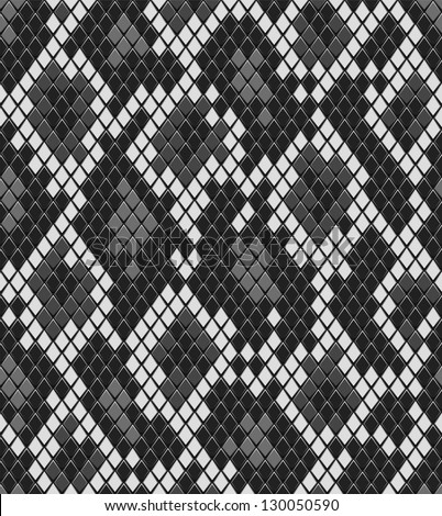 Snake reptile or crocodile skin seamless pattern in shades of grey vector