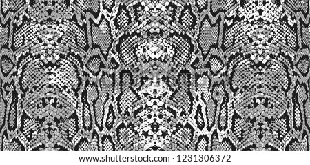 Snake skin pattern and repeating Seamless. Animal print and textile design. Monochrome black and white, vector illustration. Texture snake. Fashionable print.