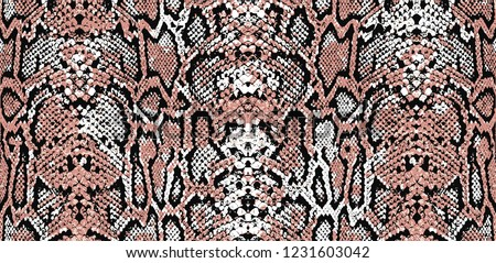Snake skin pattern and repeating Seamless. Animal print and textile design. Pink pastel shades, vector illustration. Texture snake. Fashionable print.