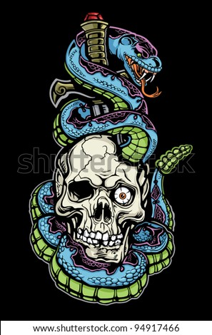 Snake Skull and Dagger Tattoo