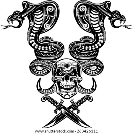 Snake Tattoo Cobra Skull And Dagger