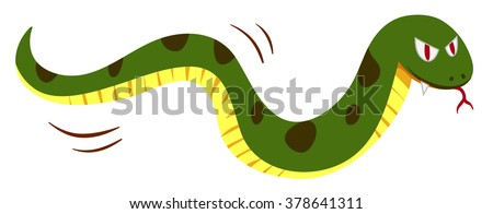 Snake with monster face illustration