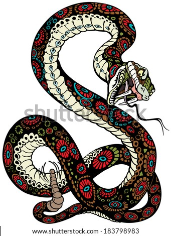 snake with open mouth tattoo illustration isolated on white background