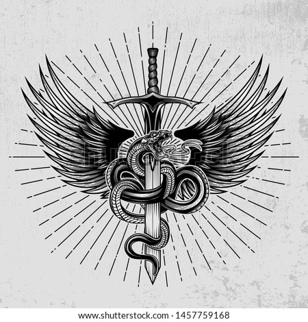 Snake with wings wrapped around a sword. Hand drawn vector illustration in engraving technique with star rays on grunge background. Ancient symbol concept.