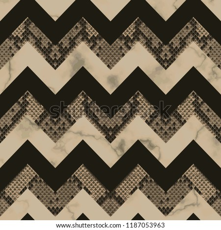 Snakeskin and marble brown and beige vertical seamless pattern. Animal luxury striped colorful repeat wallpaper for textile prints, backgrounds, wrapping.