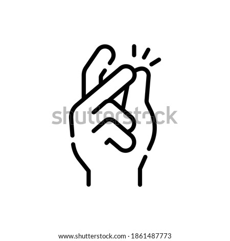 Snap Gesture Line Icon Isolated On White Background Photo stock ©