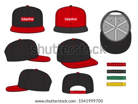 stock-vector-snapback-cap-vector-illustration-flat-sketches-template