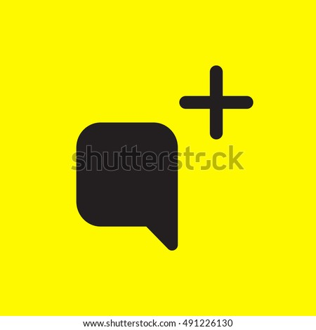 Snapchat Send Message Icon vector, Social Media Add Comment Sign, Picture UI element, User Interface symbol, 2016 Outline shape, EPS, illustration, Web, Thin, Flat, Gray, Button, yellow