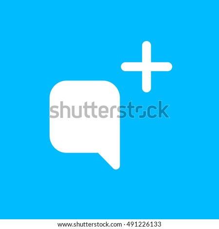 Snapchat Send Message Icon vector, Social Media Add Comment Sign, Picture UI element, User Interface symbol, 2016 Outline shape, EPS, illustration, Web, Thin, Flat, Gray, Button, blue