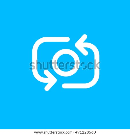 Snapchat Take Photo Icon vector, Social Media Camera Sign, Instagram UI element, User Interface symbol, 2016 Outline shape, EPS, illustration, Web, Thin, Flat, Gray, Button, Blue background