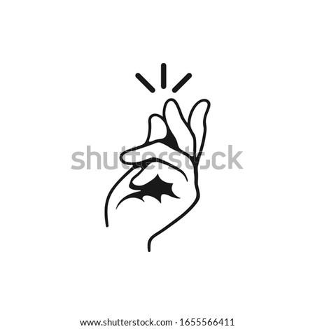 Snapping fingers clip art - line art illustration.