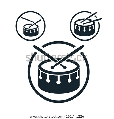 Snare drum icon single color vector music theme symbol for your design 3 versions set