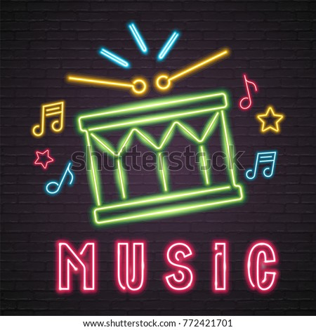 Snare Drum Neon Light Glowing Graphic. Bright Signboard Emblem. Music Vector Symbols Green Light
