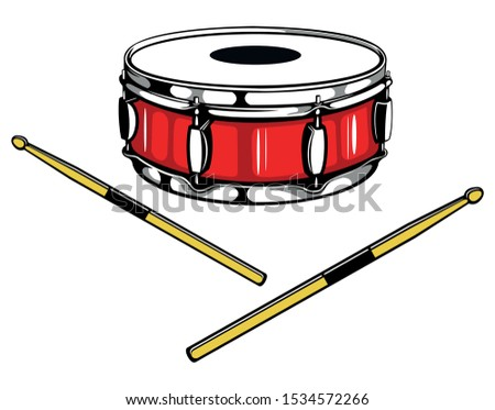 Snare drum with the two drum sticks, isolated on white background.
